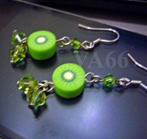 Fun Fruit Earrings Juicy Kiwi and Swarovski Crystals Peridot Earrings for Children, girl, birthday gift, Christmas