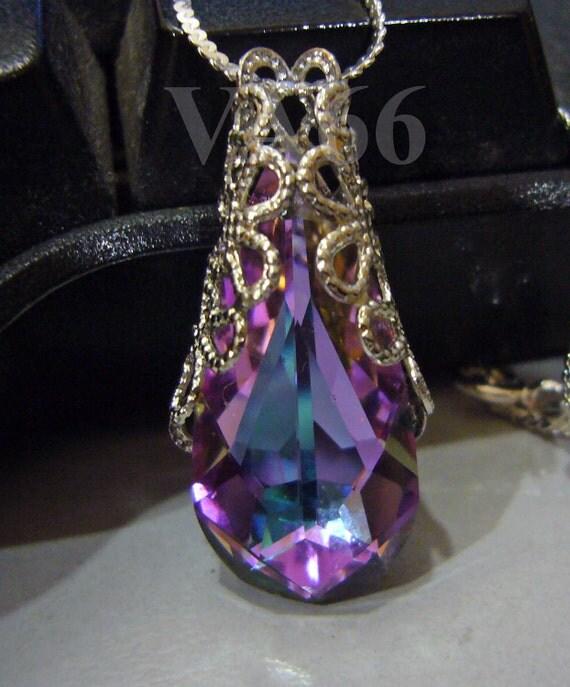 "925 Sterling Silver Filigree Half Wrapped Baroque Swarovski Crystal VL Vitrail Light Pendant Pear Teardrop 18"" Necklace Bride, Bridesmaids"