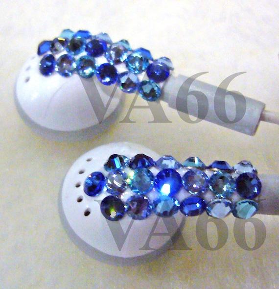 Bling Bling Studded White Ear Buds Blue Shades Swarovski Flatback studs Ear phones listening Music Apple Look Alike Ear Buds Party Favors