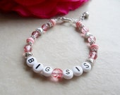 Girls Personalized Name Big Sister Bracelet with Hearts B189