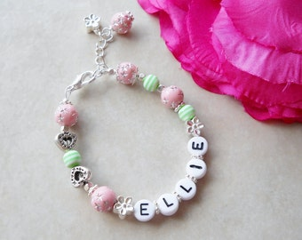 Pink and Green Personalized Bracelet B082