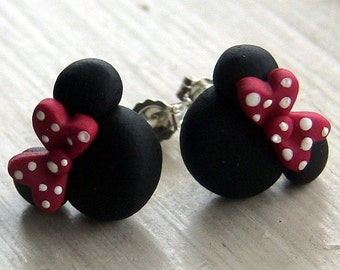 Red and Black Mouse Earrings All Sterling Silver E009
