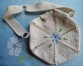 Crocheted Ladies Purse Handmade Vintage Ecru Blue Green Pink Embroidered Trim