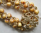 Salesmans Sample Czech Glass Vintage Bead Necklace Picasso Amber Golden Yellow