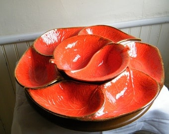 California Pottery Spicy Red Pepper Sectioned Serving Dish