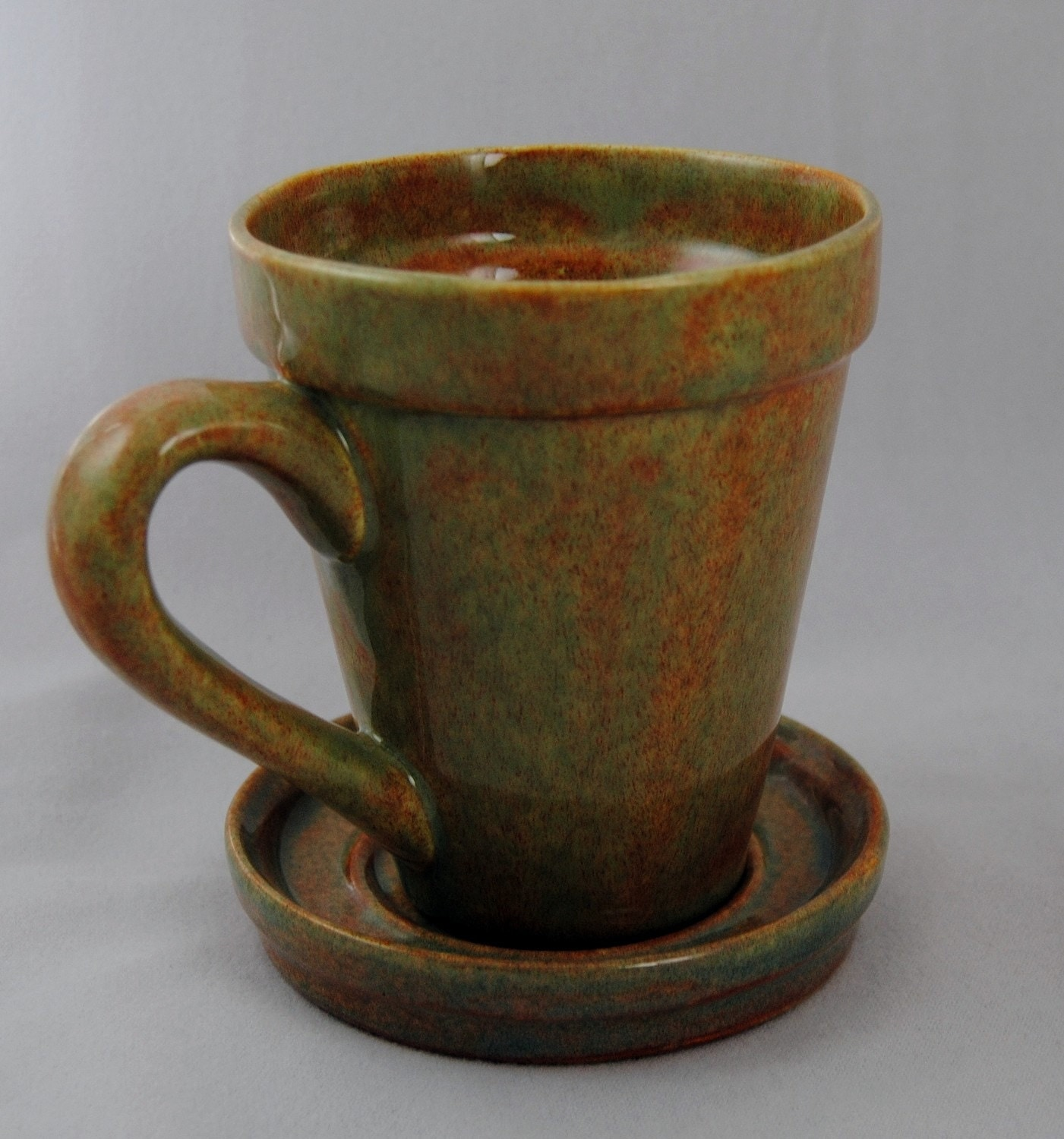 Ceramic Flower Pot Mug And Saucer