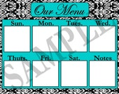 WEEKLY MENU Damask digital download printable.  Your choice of blue, red, green, yellow or hot pink..