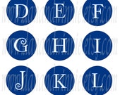 BLUE and WHITE Snowflake Alphabet 1 inch round circle digital images for bottle caps, scrapbooking, tags 4X6 digital graphics collage sheet
