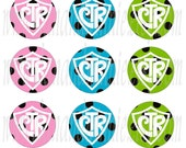 CTR Pastel POLKA Dots 1 inch round circle digital images for bottle caps, scrapbooking, tags 4X6 digital graphics collage sheet
