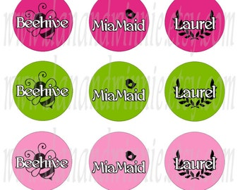 YW CLASS NAMES 1 inch circle digital images for bottle caps, scrapbooking, tags 4X6 digital graphics collage sheet
