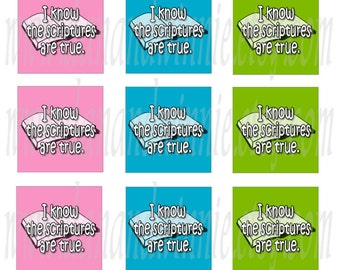 I Know The Scriptures Are True pastel INCHIES size square digital images for scrapbooking, tags 4X6 digital graphics collage sheet
