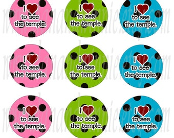 I LOVE to See the Temple polka dots pastel 1 inch circle digital images for bottle caps, scrapbooking, tags 4X6 digital collage sheet