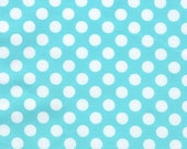 Michael Miller Ta Dot Polka Dots Dot Fabric White on Ocean Aqua Blue