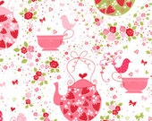 Michael Miller Strawberry Tea Party Fabric Tea Pot Cups Birds Cupcakes Pink Red White