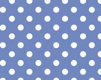 Dot to Dot .5 cm Polka Dots Fabric Sky White on Blue