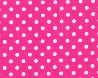 Fuchsia Pink and White Dumb Dot Polka Dots Fabric