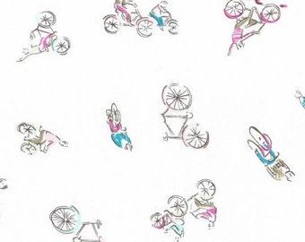 Dear Stella J'Adore Paris Fabric Bicycle Bikers Bike Bikes Multicolor on White