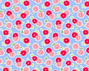 OOP HTF one yard Pam Kitty Morning LakeHouse Fabric POSIE Posies Twin Flowers Pink Red on Blue