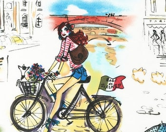 Who's That Girl Travel Italy World Europe RK Fabric Bike Biking City on Ivory