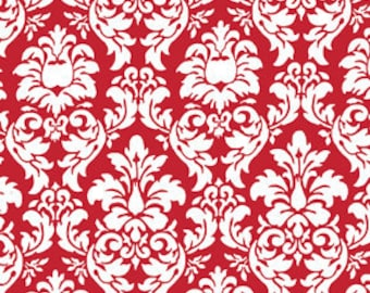Dandy Damask Rouge Red White Fabric Michael Miller
