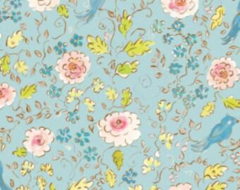 OOP HTF 31 inches Dena Designs London Cotton Fabric Ashford Blue Birds and Pink Posies on Aqua