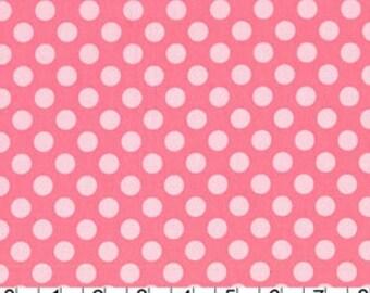 Michael Miller Ta Dot Polka Dots Fabric .5 inch Petal Light Pink on Medium Pink