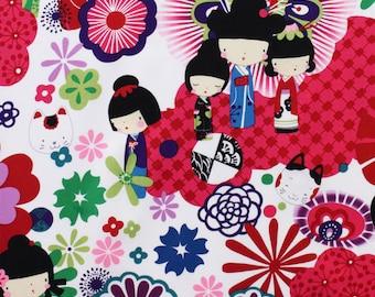 OOP HTF 25 inches Kaori Kokeshi alexander henry Fabric Asian Children Kids Park Flowers Kitty Cats Bright