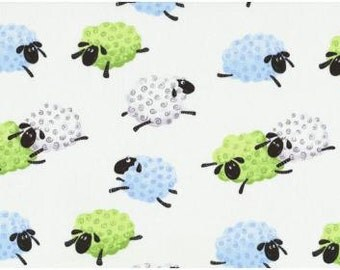 Lewe the Ewe Fabric SB Leaping Flying Jumping Sheep Fluffy Lambs Nursery Whimsy