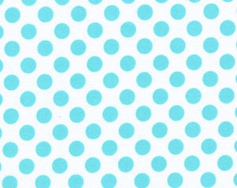 Ta Dot Polka Dots Fabric Aqua on White by Michael Miller
