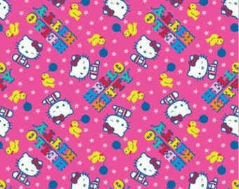 Hello Kitty Fabric Yellow Birds Balloons Stars on Shocking Hot Pink