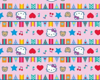 Hello Kitty Fabric Circus Big Top Flags Bunting Banners Hearts Music Notes on Pink
