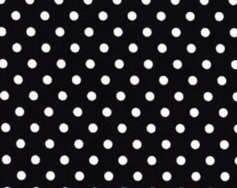 White Dots on Black Dumb Dot Polka Dots Fabric Michael Miller