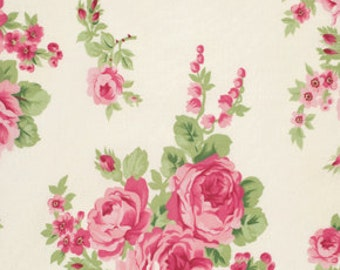 Barefoot Roses Legacy Collection Fabric Floral Bouquet Pink on White