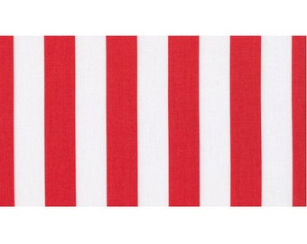 Dear Stella It's A Shore Thing Fabric Beach Nautical Cabana Stripe One Inch Red and White