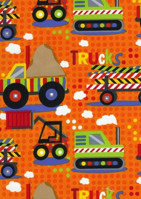 kids dump truck bulldozer construction orange fabric by