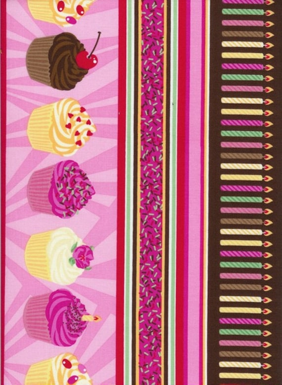 Striped Pink Fun Happy Bithday Cupcake Candle Fabric by Timeless Treasures