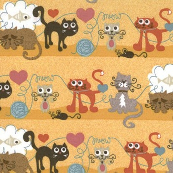 Max Whiskers Kitty Cat Love Mouse Fish Dream Fabric 215