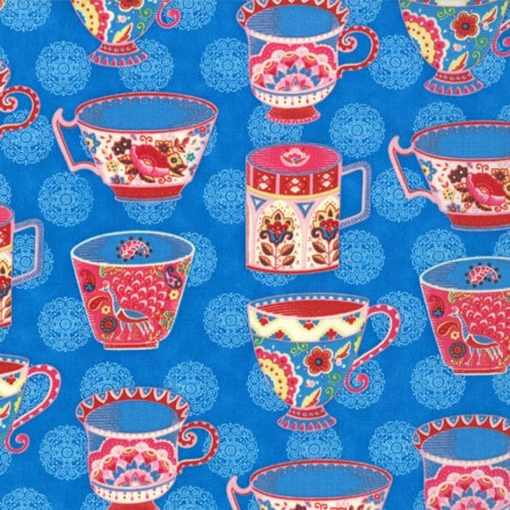 OOP HTF 28 inches MODA Tradewinds Fabric Tea Party Cups Ruby Red on Macaw Royal Blue 452 12
