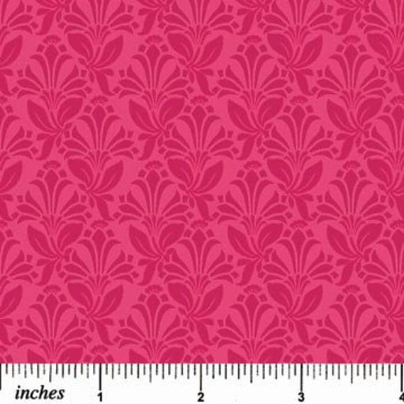 Piccadilly Circle Fabric NC Tonal Pink Scroll Vine Flower Damask