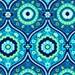 Amy Butler Lark Treasure Box Fabric Blue Green Daisey Flowers Tile On Light Blue