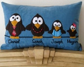Whimsical Birds on a Wire - Personalized Family Pillow