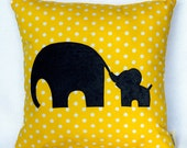 Mommy and Me Pillow / Mom and Baby Elephant  Pillow. Customize with  your favorite colors.
