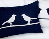 Two birds Sitting on a Wire Decorative Pillow Set -Navy & White