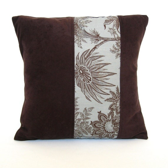 Chocolate Brown Floral on Turquoise Blue  Decorative   Pillow Cover