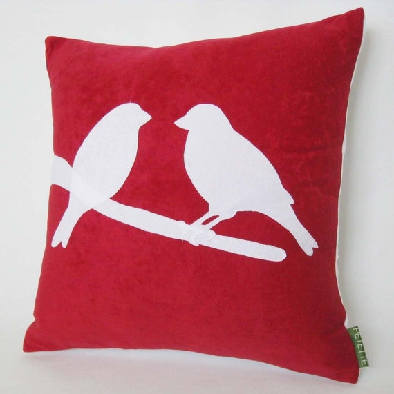 Love Birds on a Branch Raspberry Red Pillow  14 x 14 inches