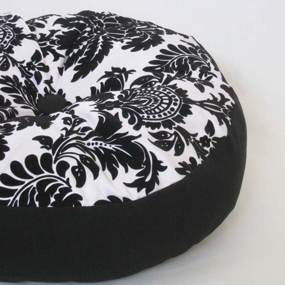 Black and White Damask Round Decorative Pillow