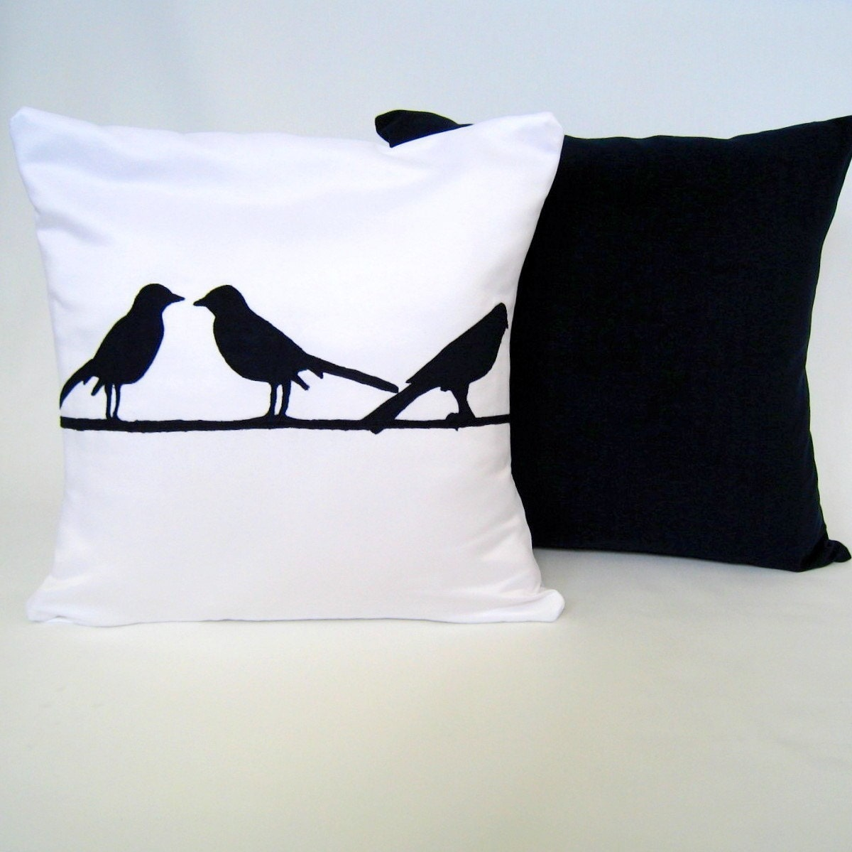 Three Birds on a Branch Chic and Modern White Pillow Cover