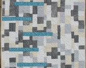Modern Organic Quilt Throw Size Grey, Cream and Blue: Open Sesame
