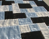 Silk Throw Quilt, Cream, Coffee and Blue, Ready to Ship