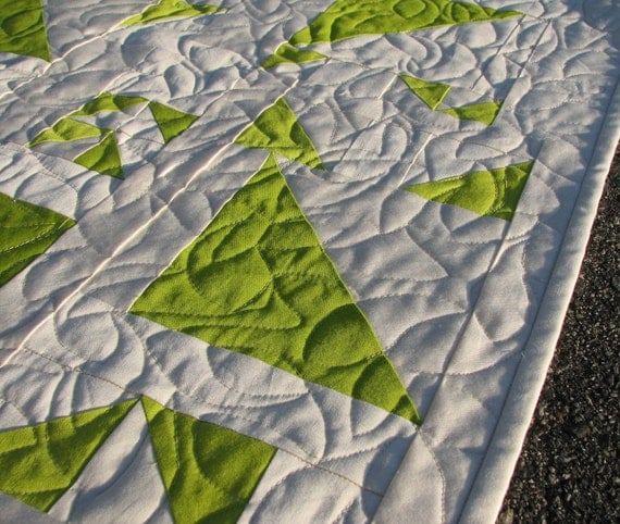 Organic Quilt, Modern Patchwork, Cream and Spring Green Spring Tree, Throw Size